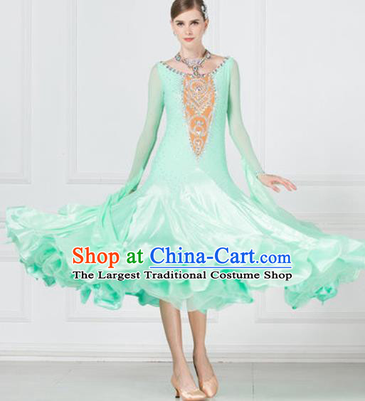 Professional Modern Dance Waltz Light Green Dress International Ballroom Dance Competition Costume for Women