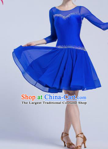 Top Latin Dance Competition Royalblue Short Dress Modern Dance International Rumba Dance Costume for Women