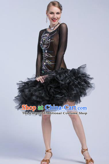 Top Latin Dance Competition Black Veil Short Dress Modern Dance International Rumba Dance Costume for Women