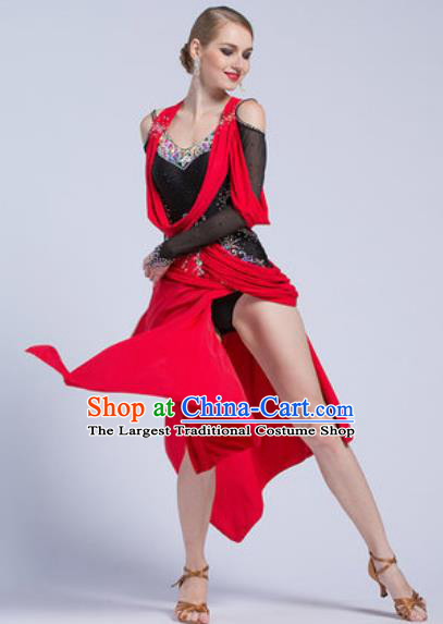 Top Latin Dance Competition Red Short Dress Modern Dance International Rumba Dance Costume for Women