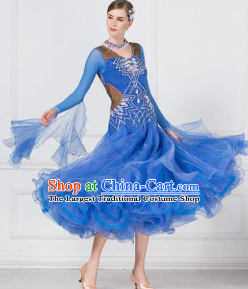 Professional Modern Dance Waltz Blue Dress International Ballroom Dance Competition Costume for Women