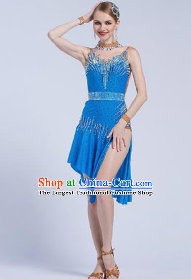 Top Latin Dance Competition Blue Dress Modern Dance International Rumba Dance Costume for Women