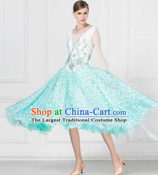 Professional Ballroom Dance Waltz Blue Dress International Modern Dance Competition Costume for Women