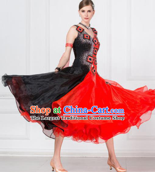Professional Ballroom Dance Waltz Red Paillette Dress International Modern Dance Competition Costume for Women