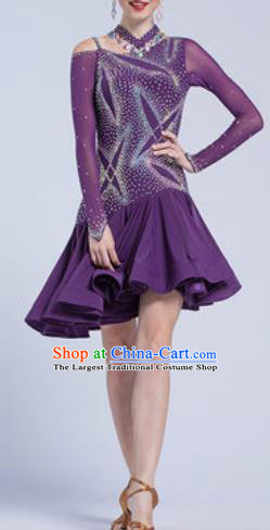 Top Latin Dance Competition Deep Purple Dress Modern Dance International Rumba Dance Costume for Women