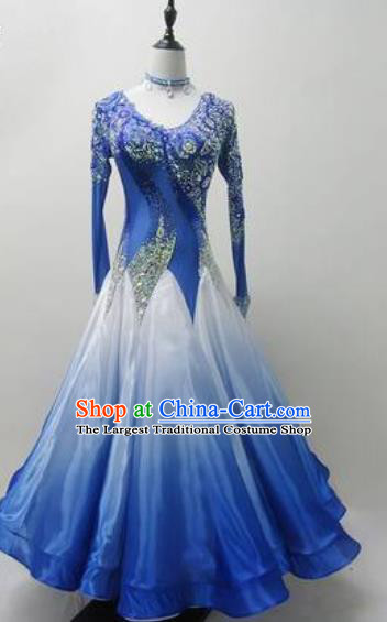 Professional Modern Dance Deep Blue Dress Ballroom Dance International Waltz Competition Costume for Women