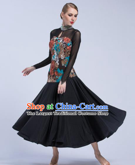 Professional Modern Dance Black Dress Ballroom Dance International Waltz Competition Costume for Women