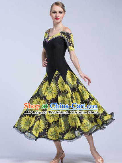 Professional Modern Dance Yellow Dress Ballroom Dance International Waltz Competition Costume for Women