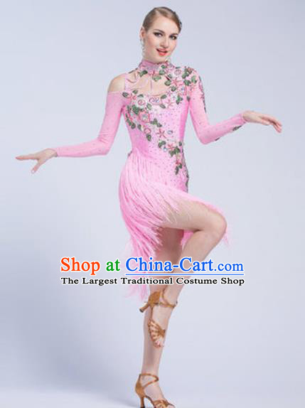 Top Latin Dance Competition Pink Tassel Dress Modern Dance International Rumba Dance Costume for Women