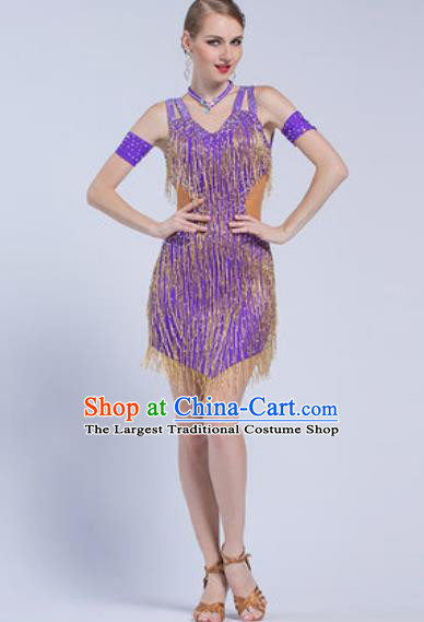 Top Latin Dance Competition Tassel Purple Dress Modern Dance International Rumba Dance Costume for Women