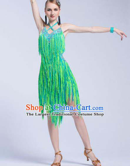 Top Latin Dance Competition Tassel Green Dress Modern Dance International Rumba Dance Costume for Women