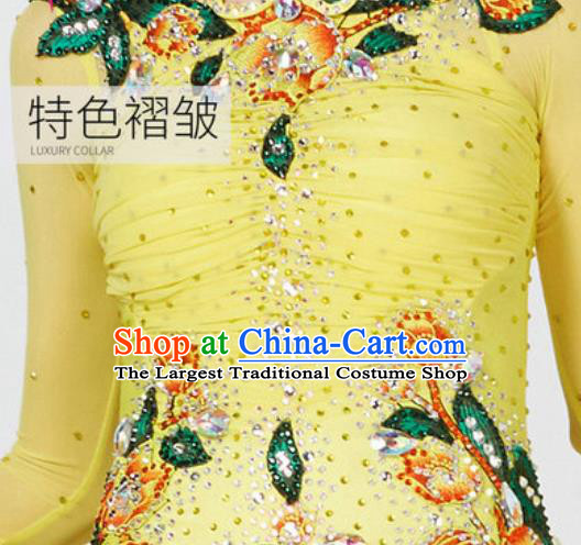 Top Grade Modern Dance Yellow Dress Ballroom Dance International Waltz Competition Costume for Women