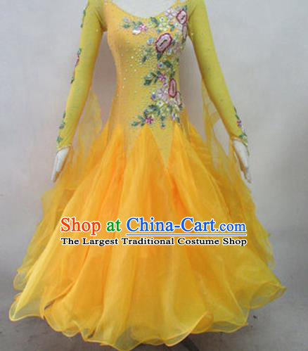 Top Waltz Competition Modern Dance Yellow Dress Ballroom Dance International Dance Costume for Women