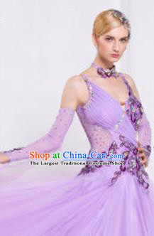 Top Waltz Competition Modern Dance Violet Dress Ballroom Dance International Dance Costume for Women
