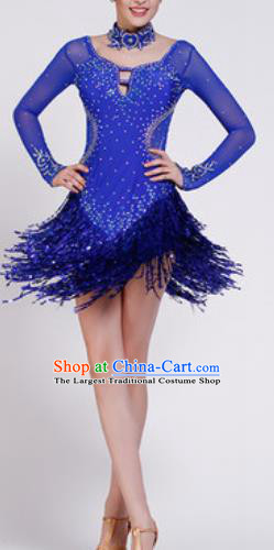 Professional Latin Dance Samba Royalblue Sequins Tassel Dress Modern Dance International Dance Competition Costume for Women