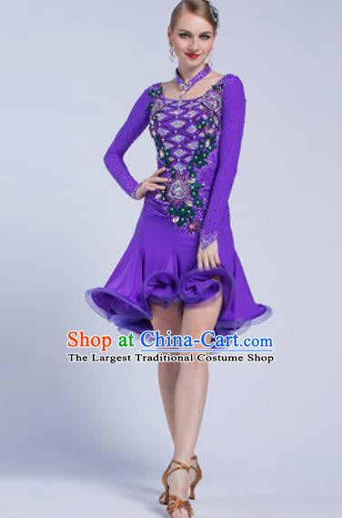 Professional Latin Dance Competition Purple Short Dress Modern Dance International Rumba Dance Costume for Women