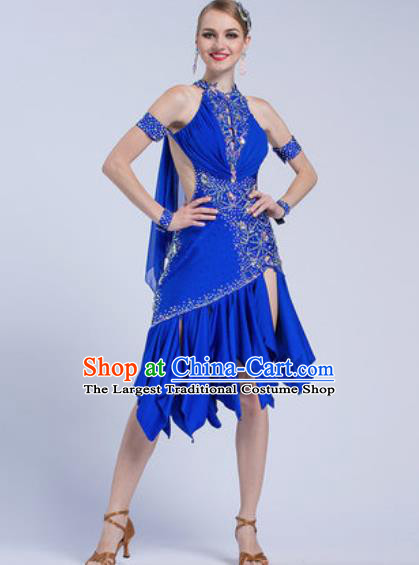 Professional Latin Dance Competition Royalblue Short Dress Modern Dance International Rumba Dance Costume for Women