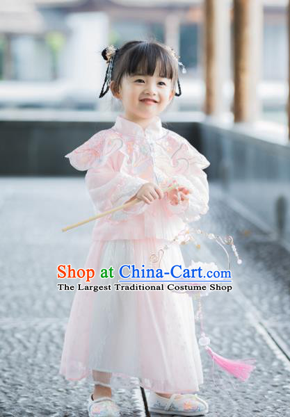Chinese National Girls Pink Tang Suit Cheongsam Costume Traditional New Year Qipao Dress for Kids