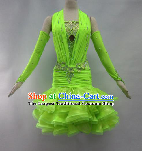 Professional Latin Dance Cha Cha Dance Green Dress Modern Dance International Dance Competition Costume for Women