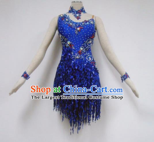 Professional Latin Dance Cha Cha Dance Royalblue Tassel Dress Modern Dance Competition Costume for Women