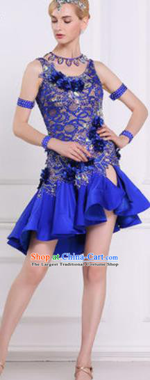 Professional Latin Dance Competition Royalblue Lace Dress Modern Dance International Rumba Dance Costume for Women