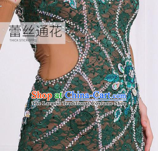Professional Latin Dance Competition Atrovirens Lace Dress Modern Dance International Rumba Dance Costume for Women