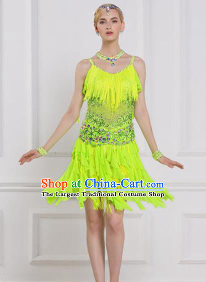 Professional Latin Dance Competition Green Tassel Dress Modern Dance International Rumba Dance Costume for Women