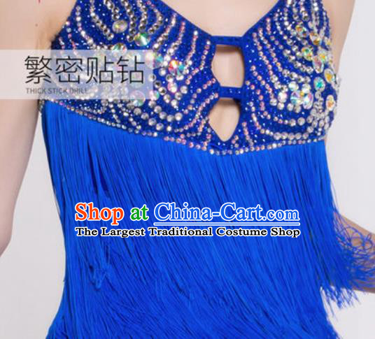 Professional Latin Dance Competition Royalblue Tassel Dress Modern Dance International Rumba Dance Costume for Women