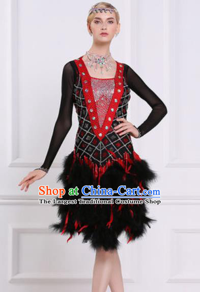 Professional Latin Dance Competition Black Feather Dress Modern Dance International Rumba Dance Costume for Women