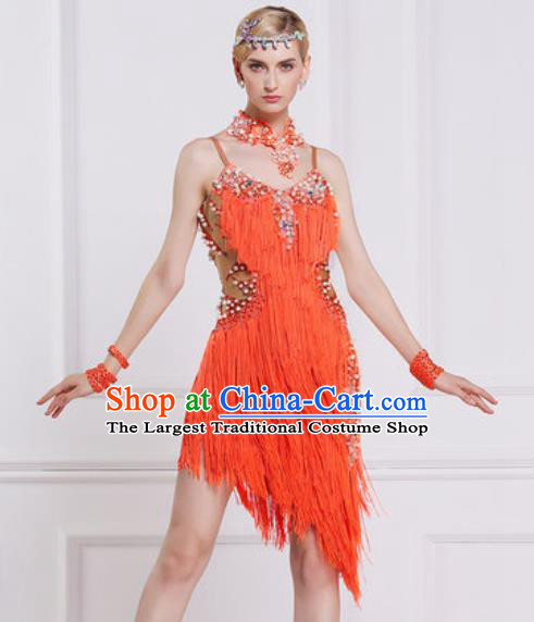 Professional Latin Dance Competition Orange Tassel Dress Modern Dance International Rumba Dance Costume for Women