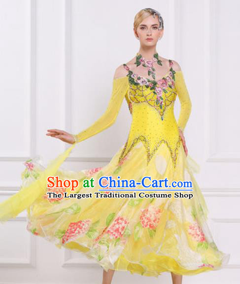 Top Waltz Competition Modern Dance Diamante Yellow Dress Ballroom Dance International Dance Costume for Women