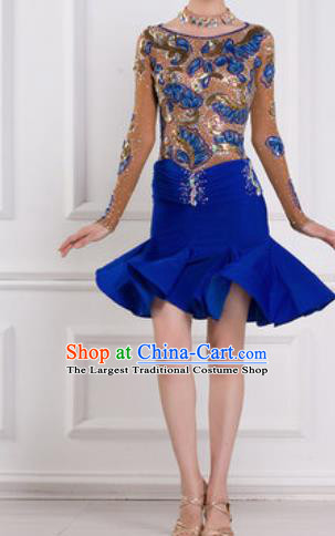 Professional Latin Dance Competition Diamante Royalblue Dress Modern Dance International Rumba Dance Costume for Women