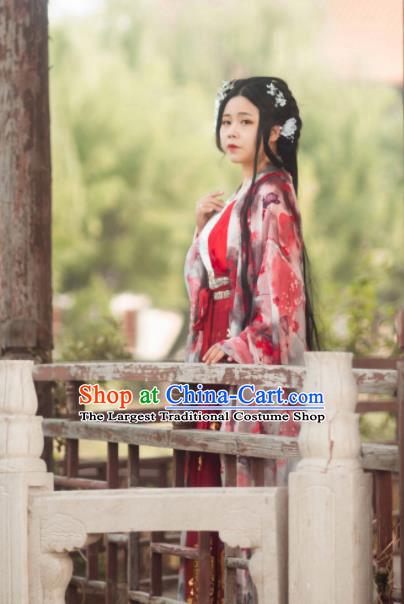 Ancient Chinese Song Dynasty Nobility Lady Red Hanfu Dress Imperial Concubine Historical Costumes for Women