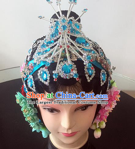 Chinese Beijing Opera Princess Blue Headgear Traditional Peking Opera Diva Wig and Hair Accessories for Women