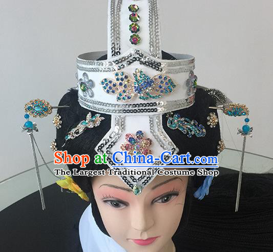 Chinese Beijing Opera Taoist Nun White Headgear Traditional Peking Opera Diva Wig Sheath and Hair Accessories for Women