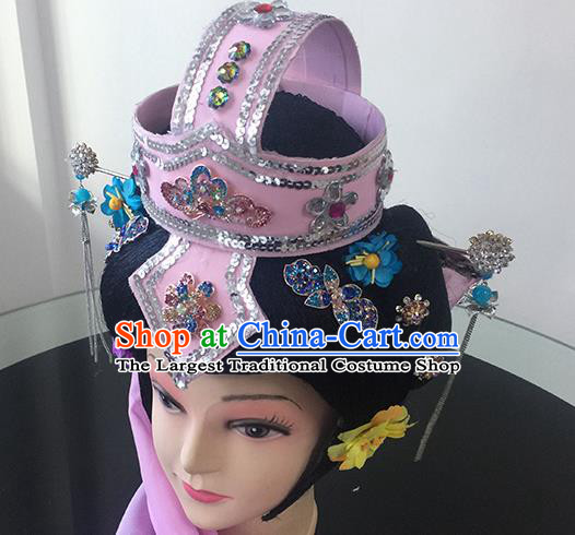 Chinese Beijing Opera Taoist Nun Pink Headgear Traditional Peking Opera Diva Wig Sheath and Hair Accessories for Women