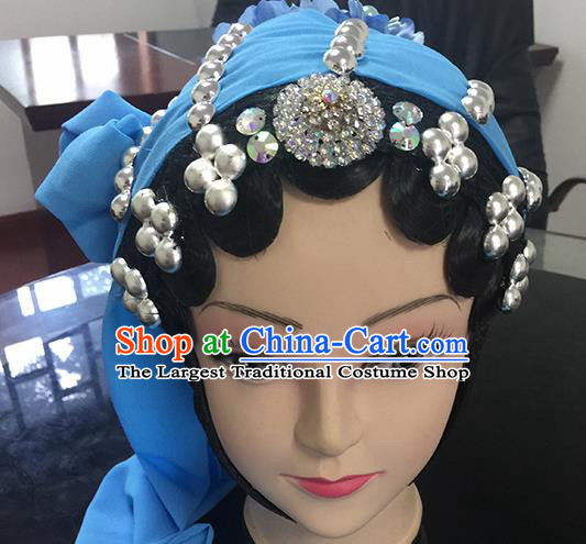 Chinese Beijing Opera Female Civilian Headgear Traditional Peking Opera Plebs Wig Sheath and Hair Accessories for Women