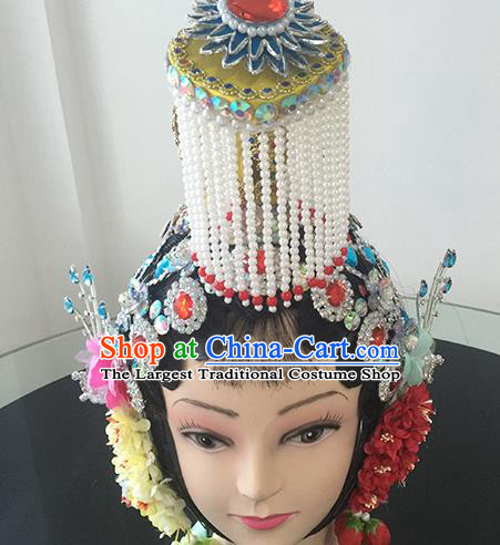 Chinese Beijing Opera Imperial Concubine Headgear Traditional Peking Opera Actress Wig Sheath and Hair Accessories for Women