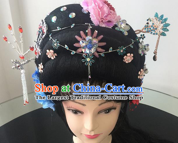 Chinese Beijing Opera Nobility Lady Headgear Traditional Peking Opera Princess Wig Sheath and Hair Accessories for Women