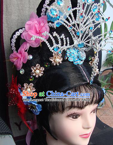 Chinese Beijing Opera Princess Phoenix Headgear Traditional Peking Opera Wig Sheath and Hair Accessories for Women