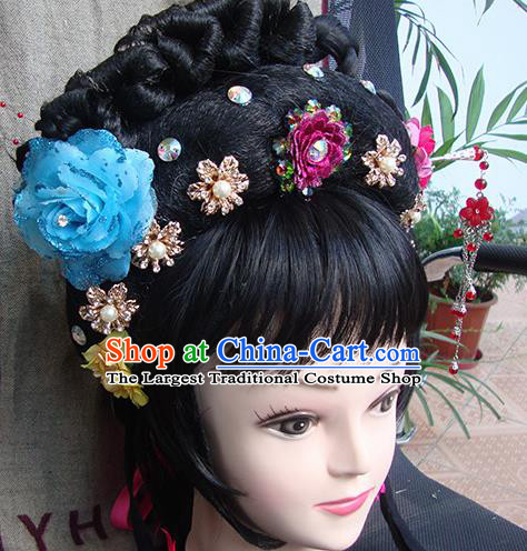 Chinese Beijing Opera Diva Princess Phoenix Headgear Traditional Peking Opera Wig Sheath and Hair Accessories for Women