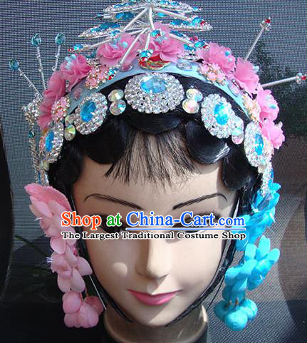 Chinese Beijing Opera Maidservants Headgear Traditional Peking Opera Wig Sheath and Hair Accessories for Women