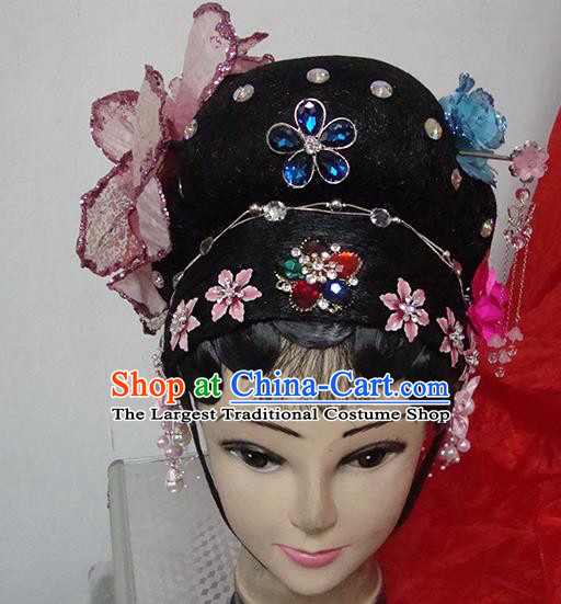 Chinese Beijing Opera Rich Lady Headgear Traditional Peking Opera Wig Sheath and Hair Accessories for Women