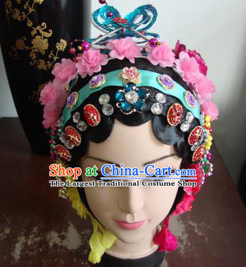 Chinese Beijing Opera Girls Pink Flowers Headgear Traditional Peking Opera Wig Sheath and Hair Accessories for Women