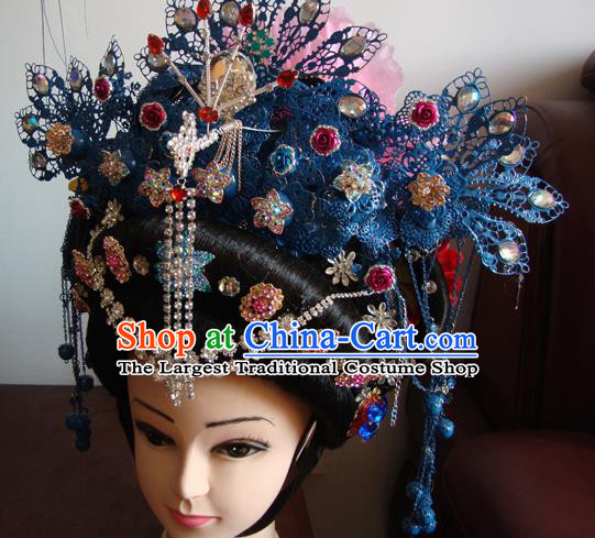 Chinese Beijing Opera Imperial Consort Phoenix Headgear Traditional Peking Opera Wig Sheath and Hair Accessories for Women