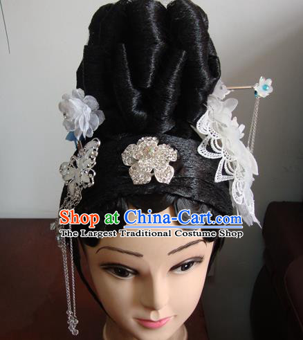 Chinese Beijing Opera Actress Headgear Traditional Peking Opera Wig Sheath and Hair Accessories for Women