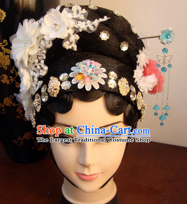 Chinese Beijing Opera Diva White Flowers Headgear Traditional Peking Opera Wig Sheath and Hair Accessories for Women