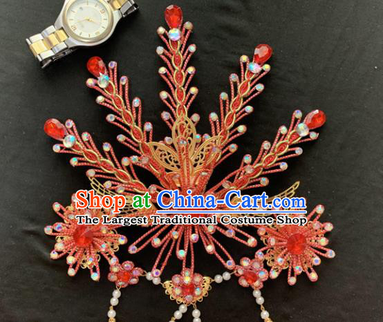 Chinese Beijing Opera Red Phoenix Hairpins Headgear Traditional Peking Opera Queen Hair Accessories for Women