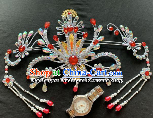 Chinese Beijing Opera Diva Phoenix Hairpins Headgear Traditional Peking Opera Queen Hair Accessories for Women
