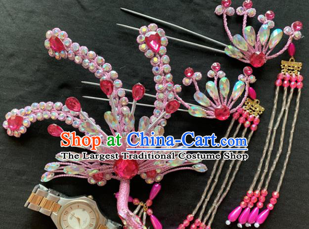 Chinese Beijing Opera Diva Pink Phoenix Tassel Hairpins Headgear Traditional Peking Opera Queen Hair Accessories for Women